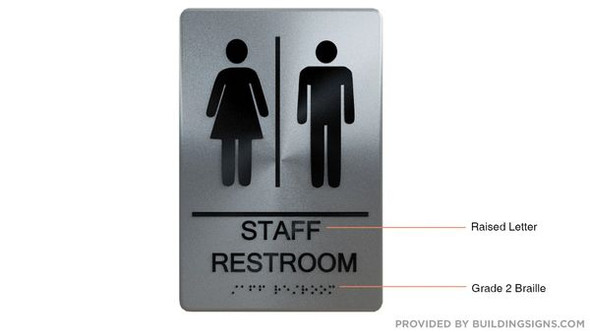STAFF Restroom Sign  Braille sign -Tactile Signs  -The sensation line    Braille sign