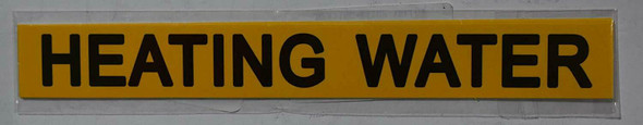 Pipe Marking- Heating Water Sign (Sticker Yellow)