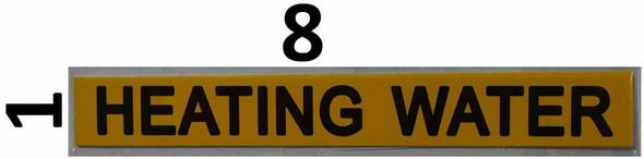 Set of 5 PCS - Pipe Marking- Heating Water Sign