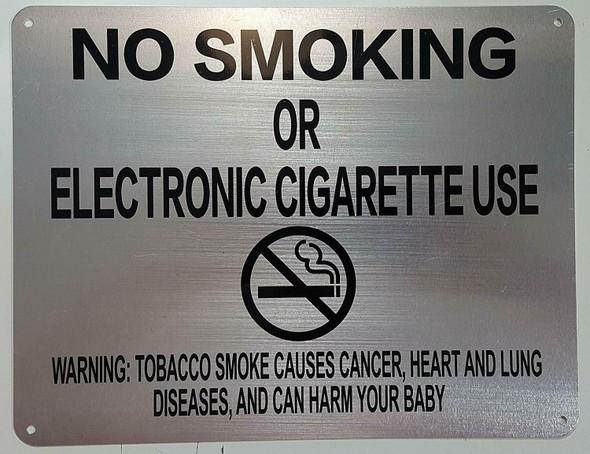 "NYC Smoke free Act Sign ""No Smoking or Electric cigarette Use"" + Warning"