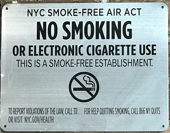 """LOT OF 5 - NYC Smoke free Act Sign """"No Smoking or Electric cigarette Use""""-FOR ESTABLISHMENT"""