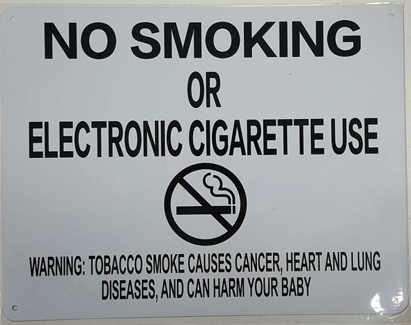 """NYC Smoke free Act Signage """"No Smoking or Electric cigarette Use"""" -with Warning"""