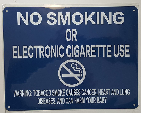 "NYC Smoke Free Act Signage""No Smoking or Electric Cigarette Use"" + Warning ( Blue)"