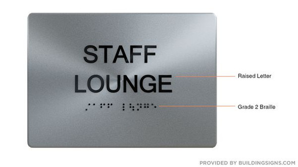 STAFF LOUNGE Sign for Building