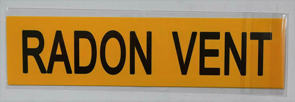 Pipe Marking- Radon Vent (Sticker Yellow)Signage