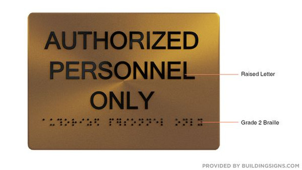 AUTHORIZED PERSONNEL ONLY Sign -Tactile Signs Tactile Signs   - THE SENSATION LINE  Braille sign