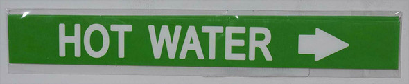 Pipe Marking- HOT Water with Arrow Signage (Sticker Green)