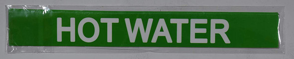 Pipe Marking- Hot Water (Sticker Green)Signage