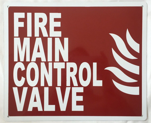 Fire Main Control Valve Fire Signage