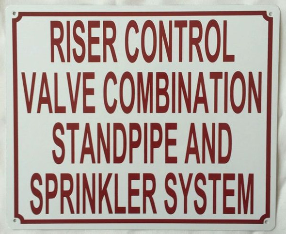 Riser Control Valve Combination Standpipe and Sprinkler System Sign