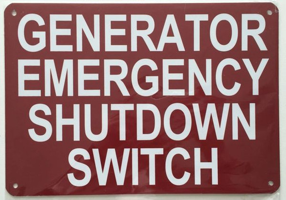 Generator Emergency Shutdown Switch Signage