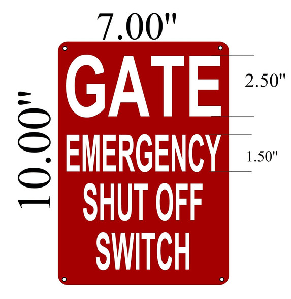 Gate Emergency Shut Off Switch Sign