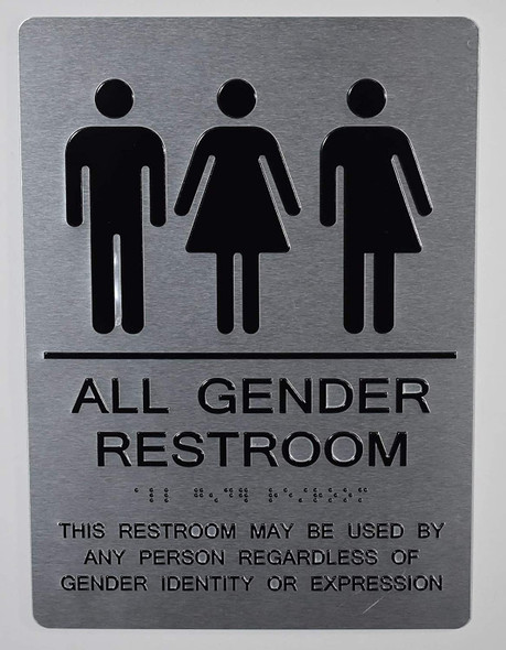 All Gender Restroom Sign This Restroom May BE Used by Any Person REGARDLESS of Gender Identity OR Expression - The Sensation line -Tactile Signs  Braille sign