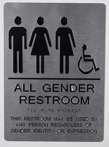 All Gender Restroom ACCESSIBLE Sign This Restroom May BE Used by Any Person REGARDLESS of Gender Identity OR Expression - The Sensation line -Tactile Signs  Braille sign