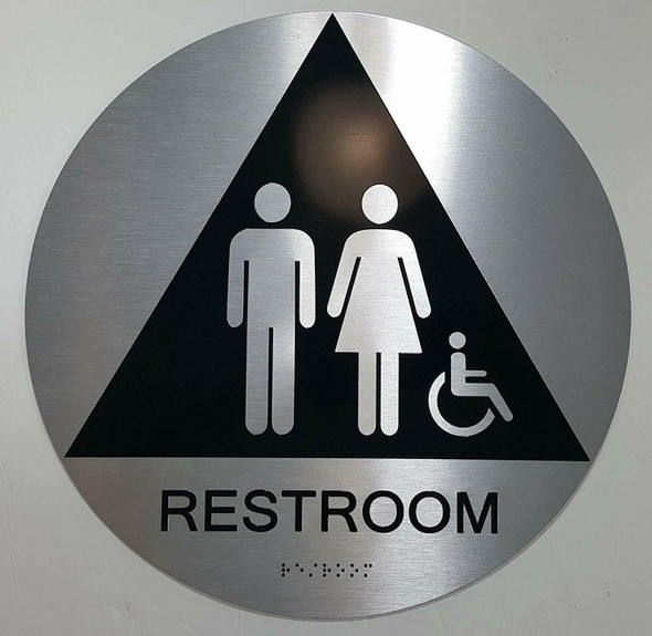 CA ADA Unisex Restroom ACCESSIBLE Sign -Tactile Signs  The Sensation line  Braille sign