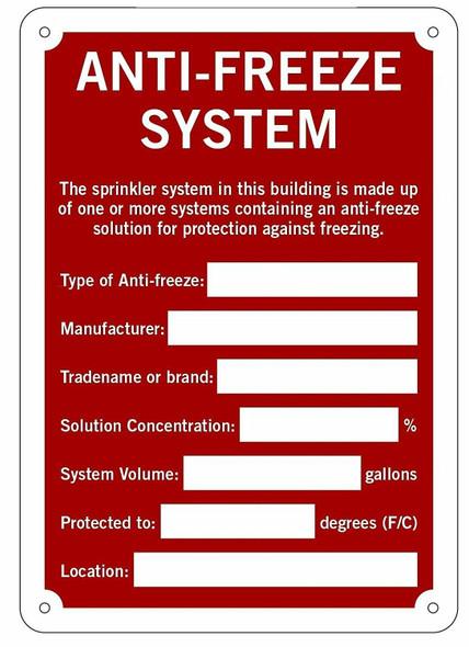 Anti-Freeze System Signage