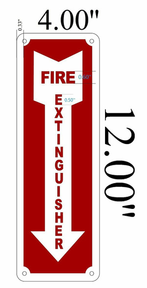 Fire Extinguisher with Arrow Down Fire and Safety Sign