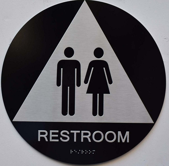 Unisex Restroom CA -  The Sensation line -Tactile Signs  Braille sign