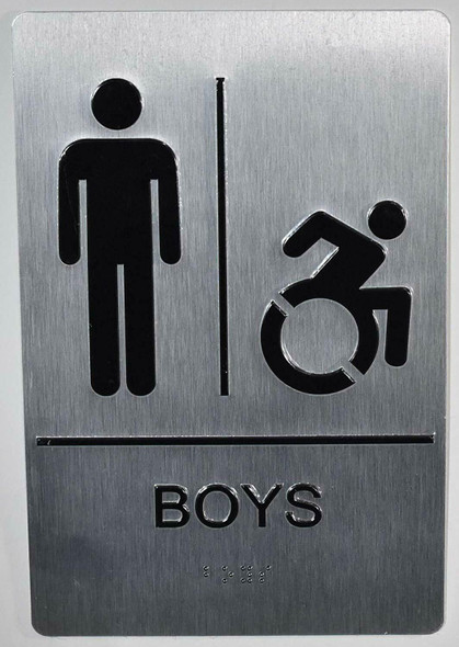 Boys ACCESSIBLE Restroom Sign with Tactile Text and   Braille sign -Tactile Signs The Sensation line  Braille sign
