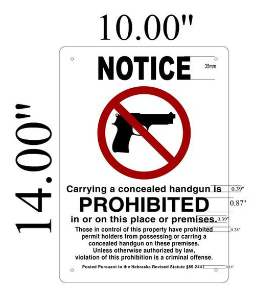 Notice Carrying A Concealed Handgun Is Prohibited In Or On This Place Or Premises Sign