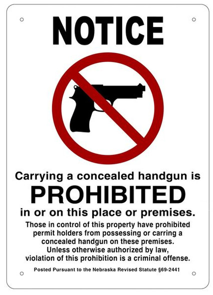 Notice Carrying A Concealed Handgun Is Prohibited In Or On This Place Or Premises Signage