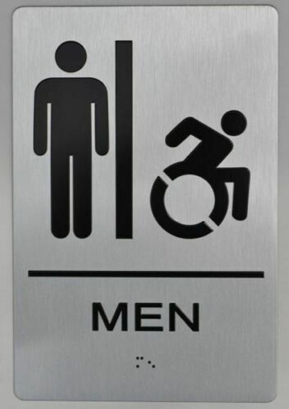 Men's Restroom Sign with Tactile Text and Braille Sign