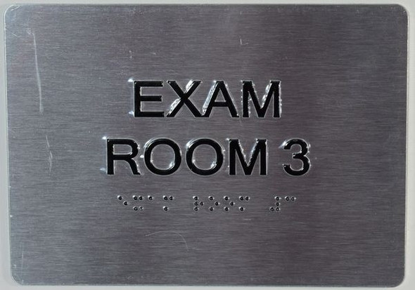 EXAM Room 3 Sign with Tactile Text and   Braille sign -Tactile Signs  The Sensation line  Braille sign