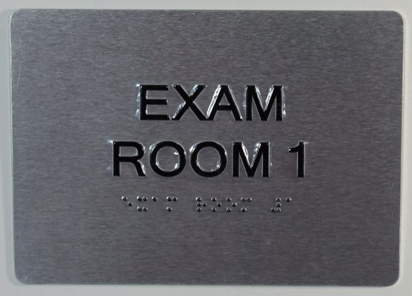 EXAM Room 1 Sign with Tactile Text and Braille Sign -Tactile Signs  The Sensation line Ada sign