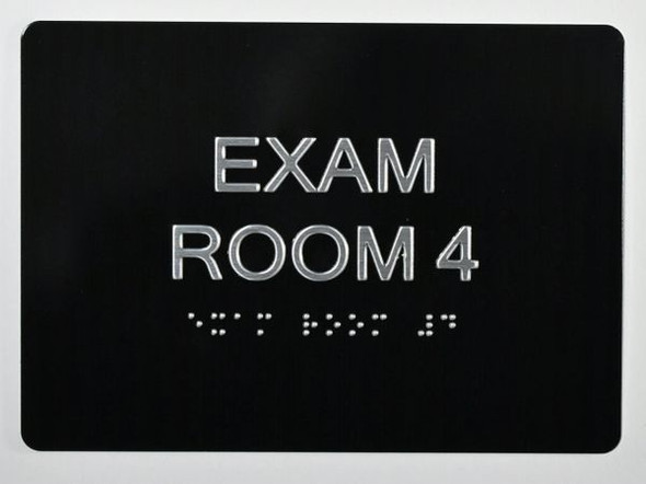 EXAM Room 4 Sign with Tactile Text and Braille Sign -Tactile Signs  The Sensation line Ada sign