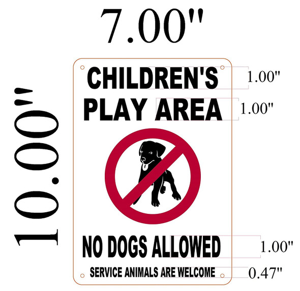 Children's Play Area No Dogs Allowed Signage