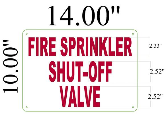 Fire Sprinkler Shut-Off Valve, Aluminum Signage