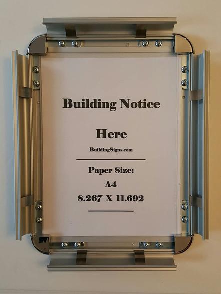 Hallway/Lobby Notice Frame A4- Chrome !!! ( Heavy Duty - Aluminum)