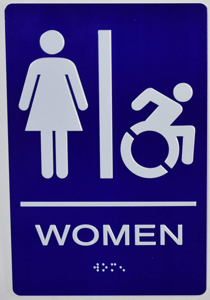 Woman Restroom accessible Sign -Tactile Signs  The Sensation line  Braille sign