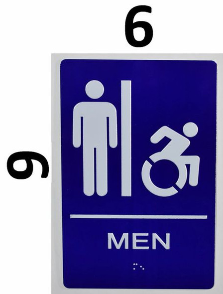 CA ADA Men Restroom accessible Sign -Tactile Signs  The Sensation line  Braille sign