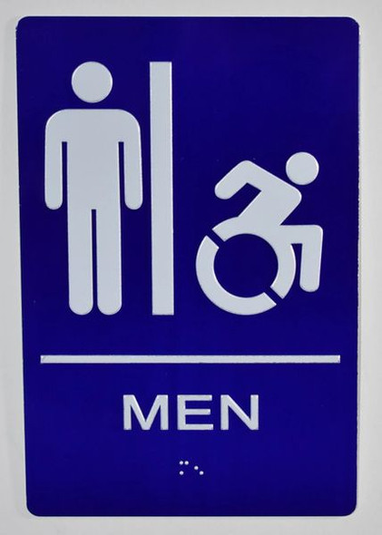 CA ADA Men Restroom accessible Sign -Tactile Signs  The Sensation line Ada sign