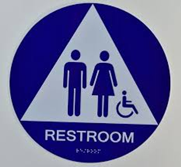 Unisex ACCESSIBLE Restroom CA 128-ADA  The Sensation line -Tactile Signs Ada sign