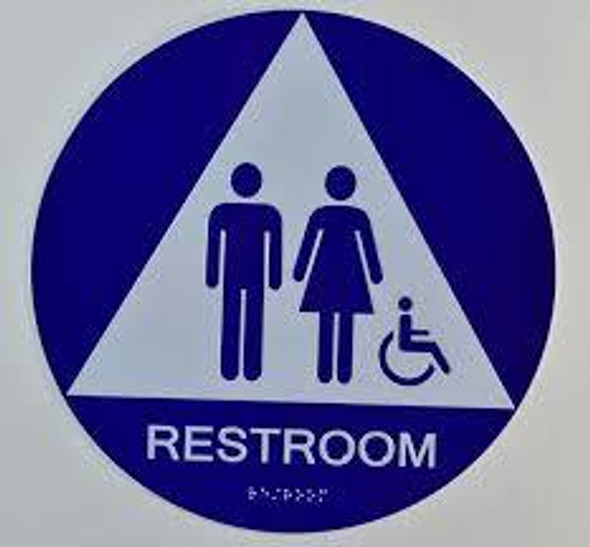 Unisex ACCESSIBLE Restroom CA 128-ADA  The Sensation line -Tactile Signs  Braille sign