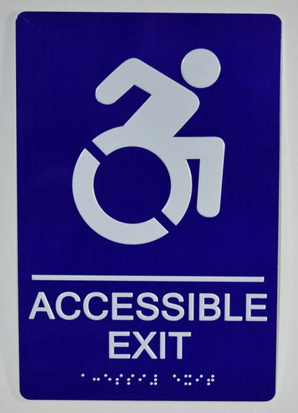 ACCESSIBLE EXIT Sign -Tactile Signs ADA-Compliant Sign.  -Tactile Signs  The Sensation line  Braille sign