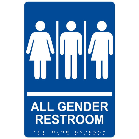 All Gender Restroom Sign with Braille and Raised Letters Tactile Signs  Braille sign