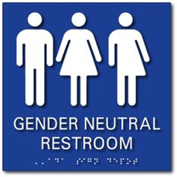 Gender Neutral Symbols Restroom Wall Sign