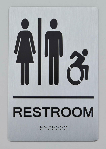 UNISEX ACCESSIBLE RESTROOM - ADA compliant sign.  -Tactile Signs The sensation line  Braille sign