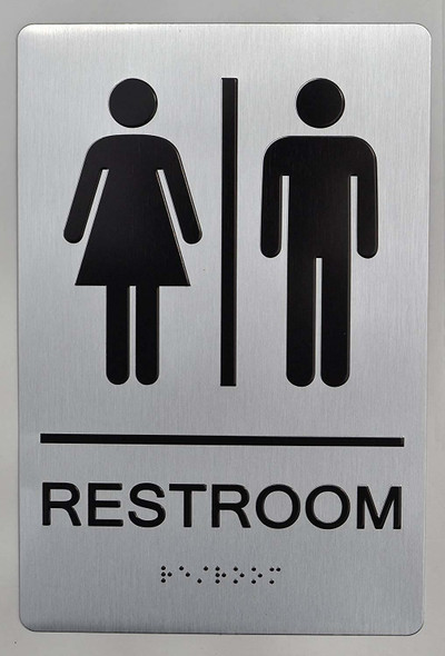 UNISEX RESTROOM - ADA compliant sign.  -Tactile Signs The sensation line  Braille sign