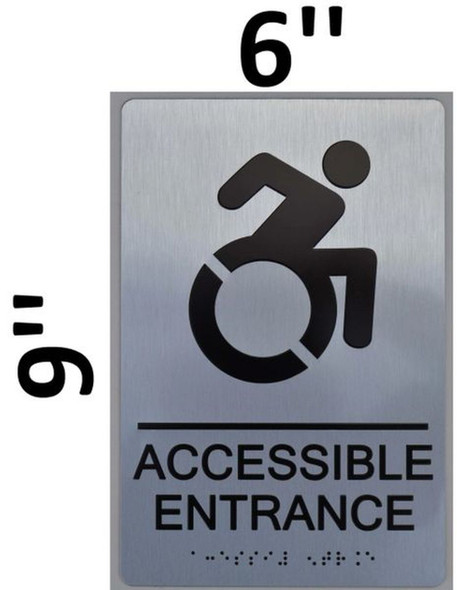 Accessible Entrance ADA-Sign -Tactile Signs The sensation line  Braille sign