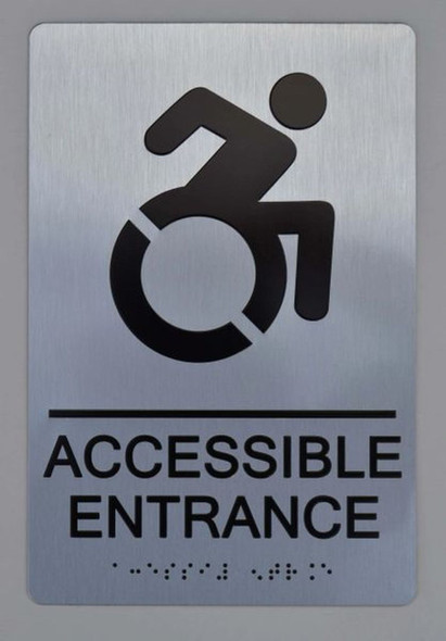 Accessible Entrance ADA SIGN silver