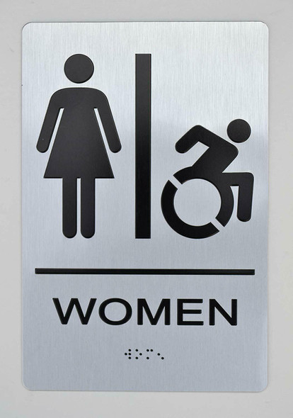 WOMEN ACCESSIBLE RESTROOM Sign -Tactile Signs The sensation line  Braille sign