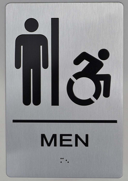 NYC Men Accessible Restroom Sign  -The Sensation line -Tactile Signs Ada sign