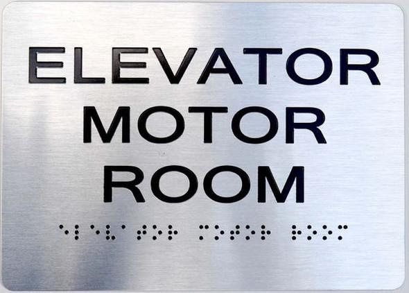 Elevator Motor Room silver sign