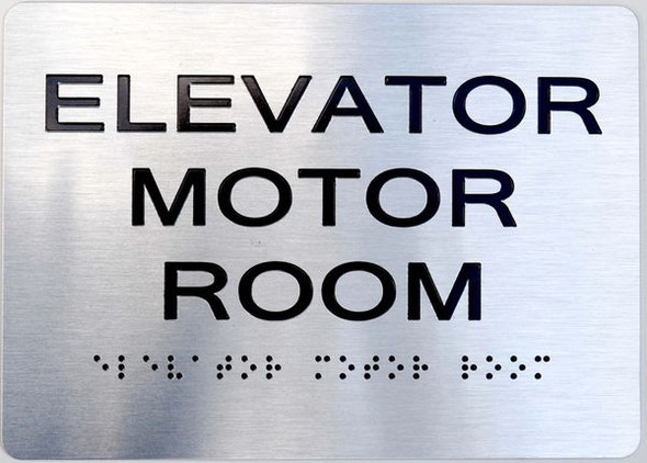 Elevator Motor Room ADA Sign silver