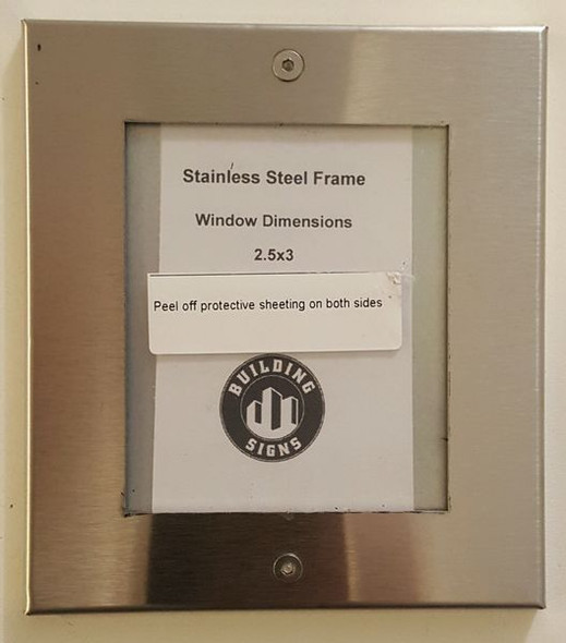 SIGN Elevator certificate frame  stainless Steel
