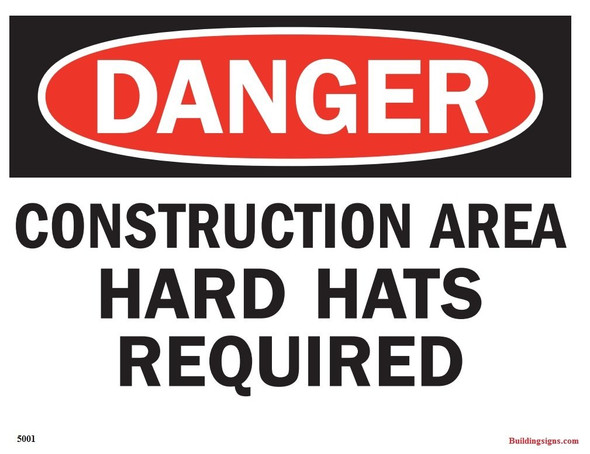 "Aluminium OSHA Safety Sign ""Danger Construction Area Hard Hats required"